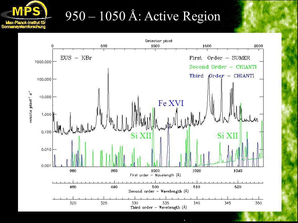 950 – 1050 Å: Active Region Fe XVI Si XII
