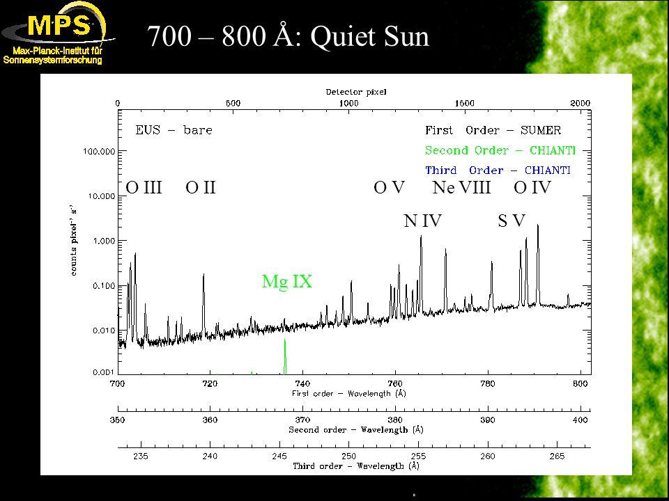 700 – 800 Å: Quiet Sun O III O II O V Ne VIII O IV N IV S V Mg IX