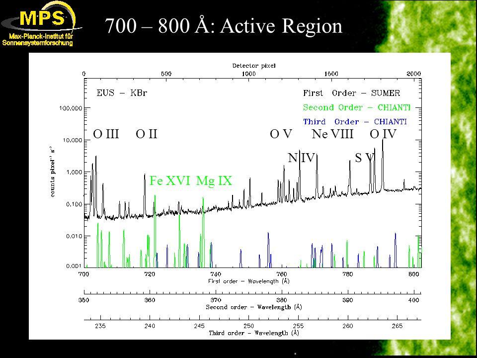 700 – 800 Å: Active Region O III O II O V Ne VIII O IV N IV S V Fe XVI Mg IX
