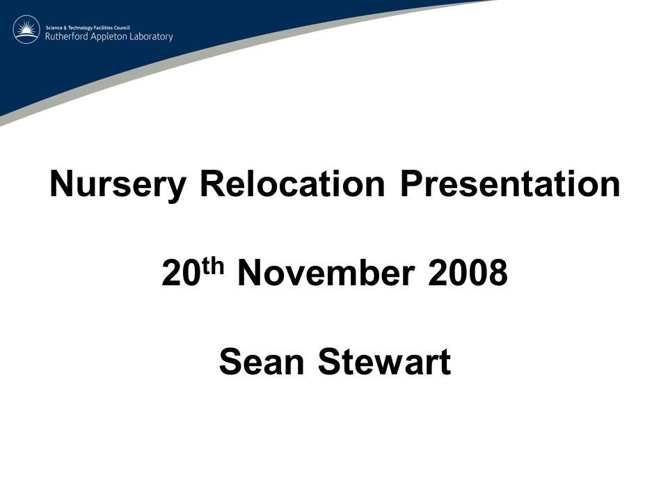 Nursery Relocation Presentation 20 th November 2008 Sean Stewart