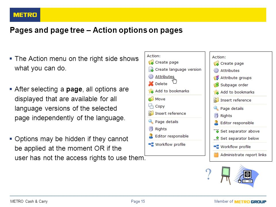 METRO Cash & Carry Member of Page 15 Pages and page tree – Action options on pages  The Action menu on the right side shows what you can do.  After