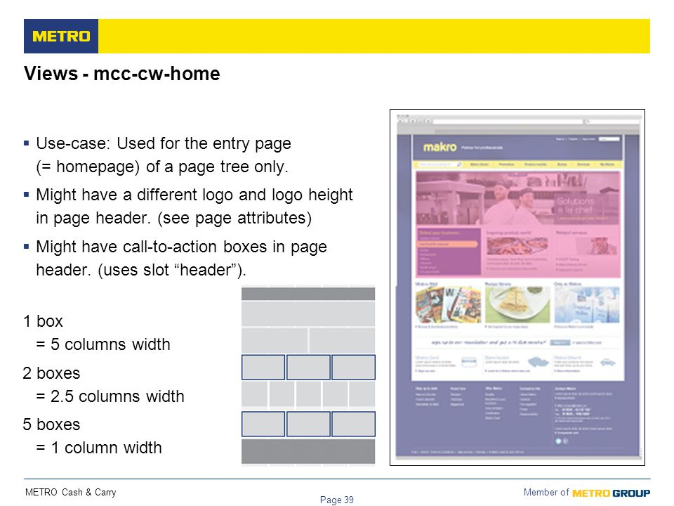METRO Cash & Carry Member of Page 39 Views - mcc-cw-home  Use-case: Used for the entry page (= homepage) of a page tree only.  Might have a differen