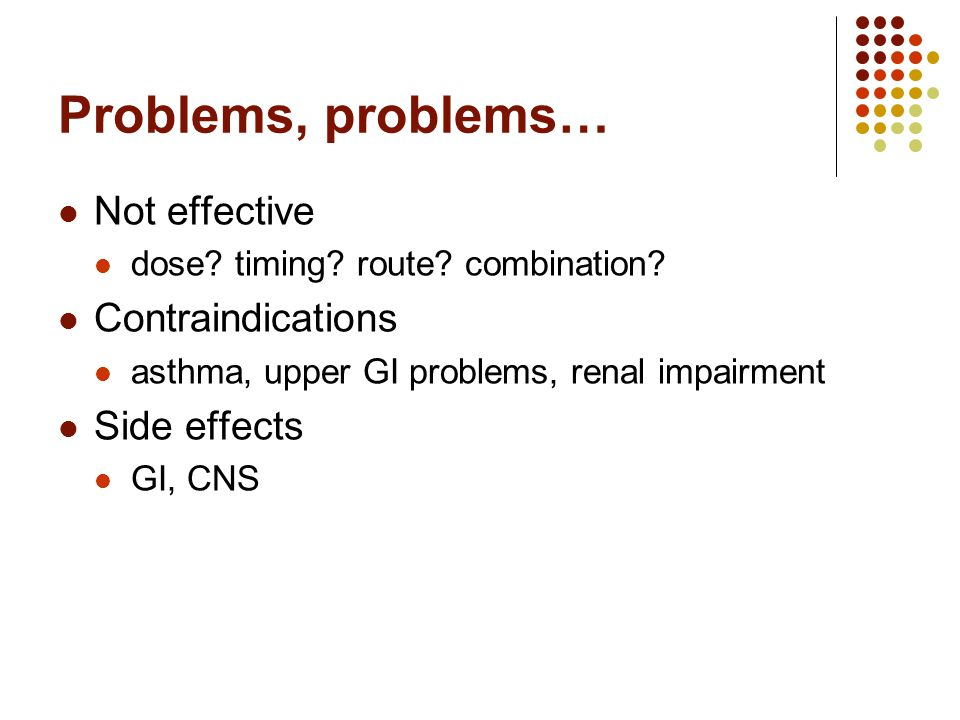 Problems, problems… Not effective dose. timing. route.