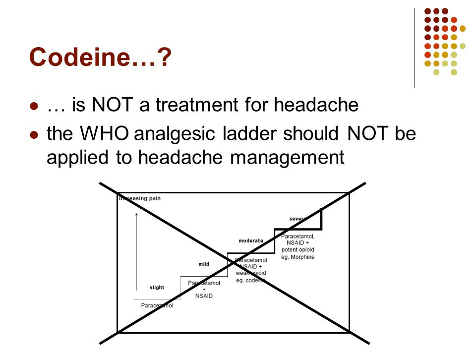 Codeine…? … is NOT a treatment for headache the WHO analgesic ladder should NOT be applied to headache management