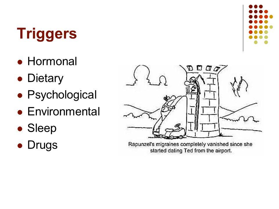 Triggers Hormonal Dietary Psychological Environmental Sleep Drugs