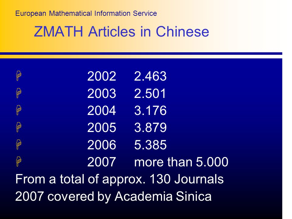 European Mathematical Information Service ZMATH Articles in Chinese H H H H H H 2007 more than From a total of approx.