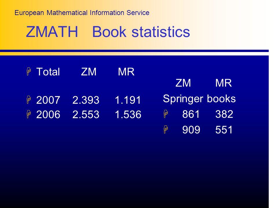 European Mathematical Information Service ZMATH Book statistics HTotal ZM MR H2007 2.393 1.191 H2006 2.553 1.536 ZM MR Springer books H 861 382 H 909 551
