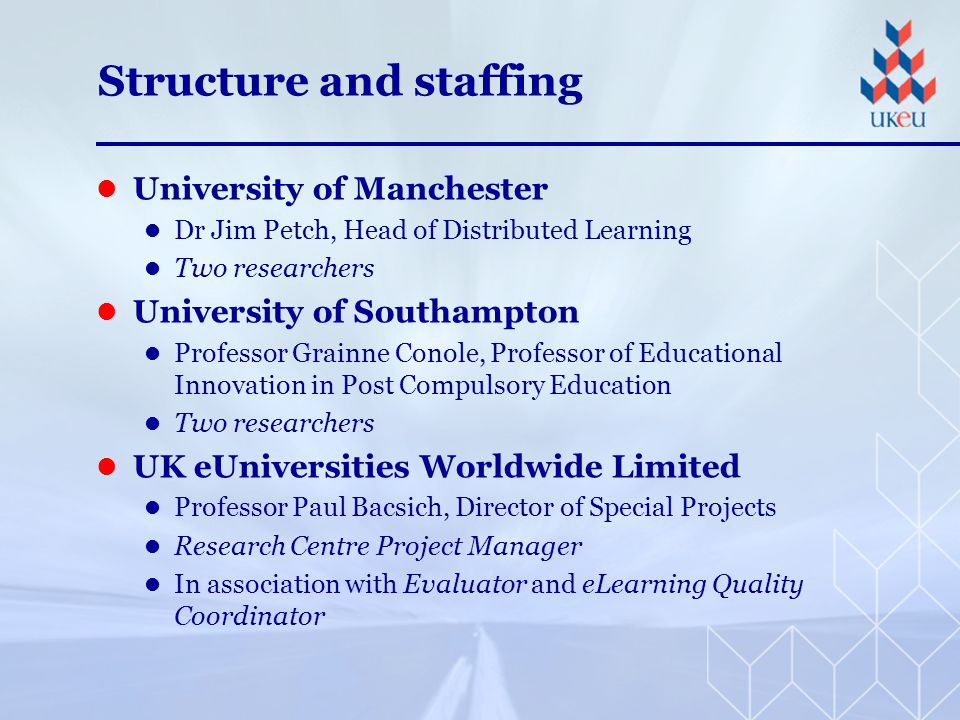 Structure and staffing University of Manchester Dr Jim Petch, Head of Distributed Learning Two researchers University of Southampton Professor Grainne Conole, Professor of Educational Innovation in Post Compulsory Education Two researchers UK eUniversities Worldwide Limited Professor Paul Bacsich, Director of Special Projects Research Centre Project Manager In association with Evaluator and eLearning Quality Coordinator