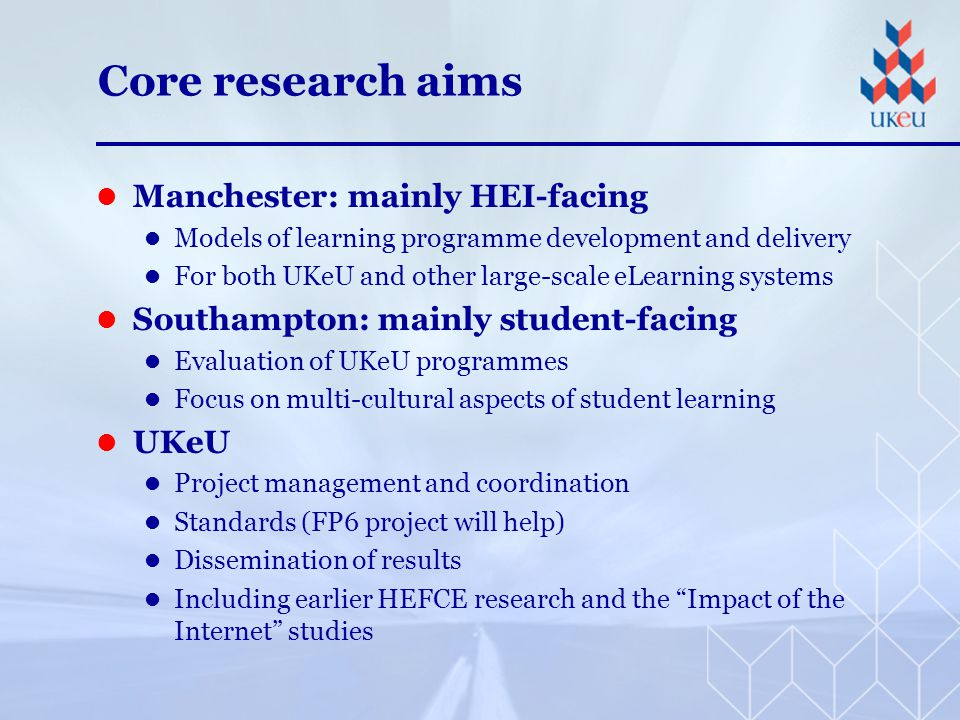 Additional research aims Growth via EU and other grants Partnership model with other Centres of Excellence world-wide Topics under discussion: T-learning M-learning Conformance testing Multi-lingual eLearning systems