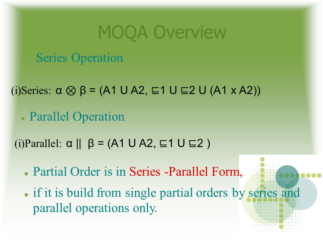 MOQA Overview Series Operation Parallel Operation Partial Order is in Series -Parallel Form, if it is build from single partial orders by series and parallel operations only.