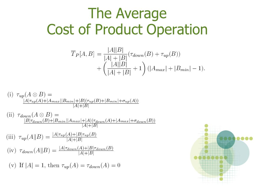 The Average Cost of Product Operation