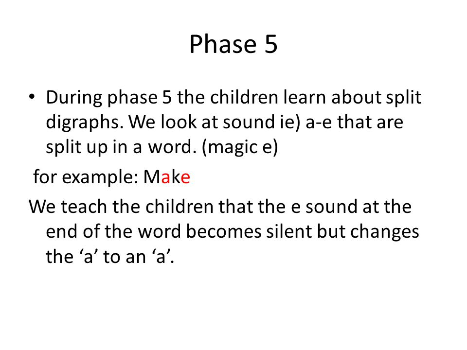 Phase 5 During phase 5 the children learn about split digraphs.