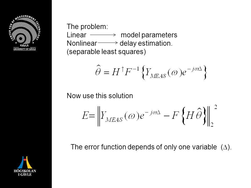 The problem: Linear model parameters Nonlinear delay estimation.