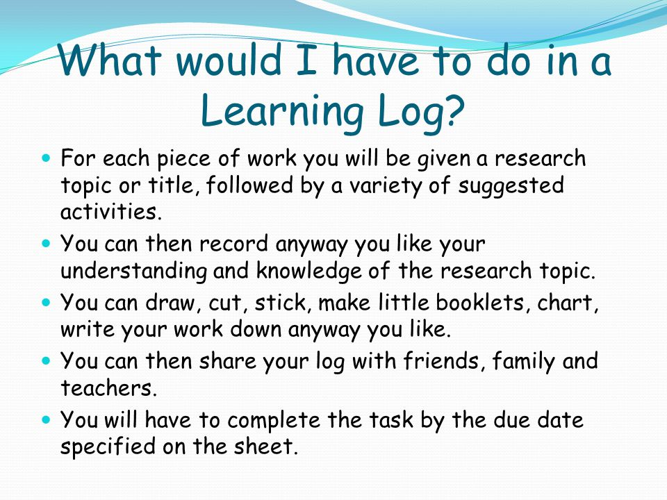 What is a Learning Log.
