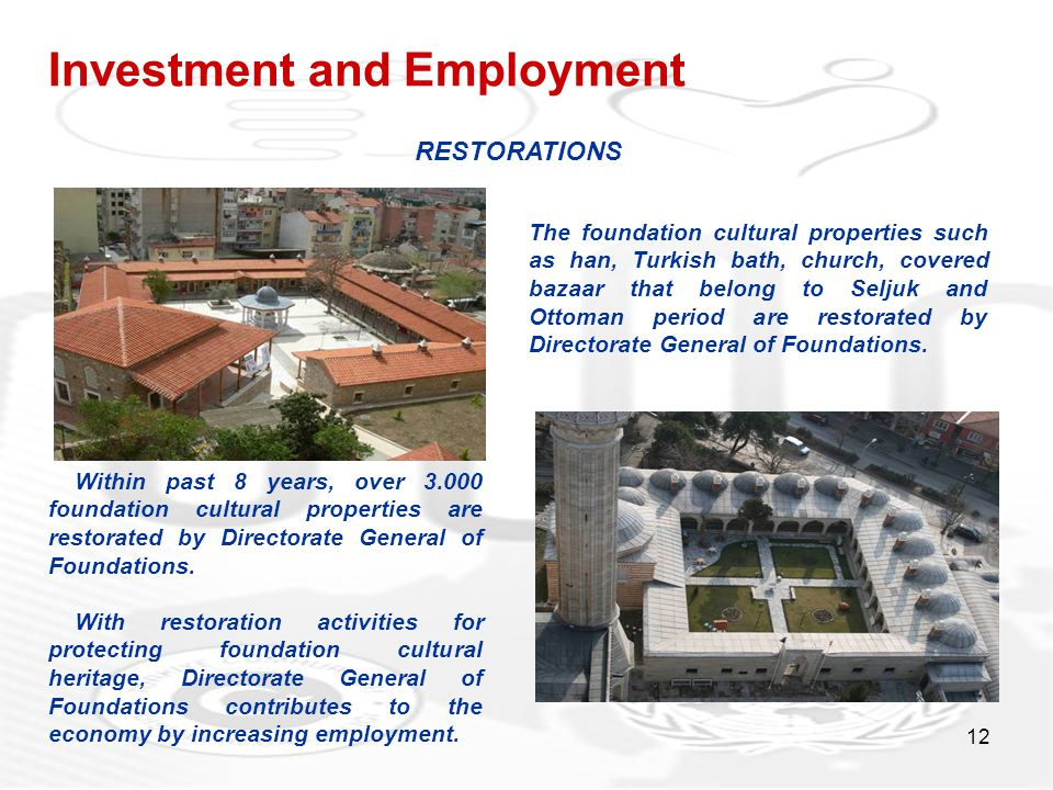 12 Investment and Employment The foundation cultural properties such as han, Turkish bath, church, covered bazaar that belong to Seljuk and Ottoman pe