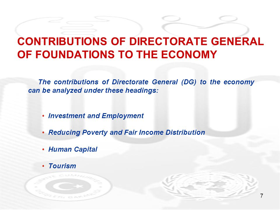 7 CONTRIBUTIONS OF DIRECTORATE GENERAL OF FOUNDATIONS TO THE ECONOMY The contributions of Directorate General (DG) to the economy can be analyzed unde