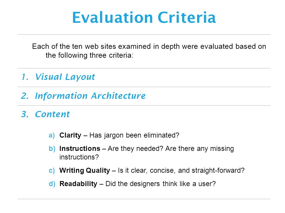Each of the ten web sites examined in depth were evaluated based on the following three criteria: Evaluation Criteria 3.Content 2.Information Architecture 1.Visual Layout a)Clarity – Has jargon been eliminated.