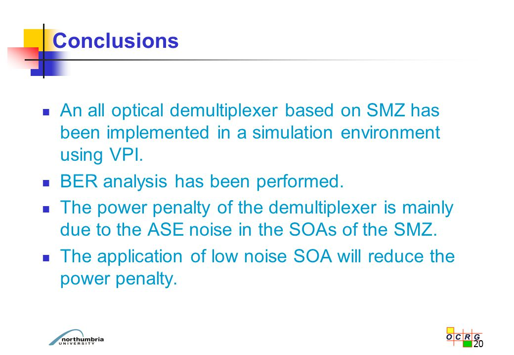 20 Conclusions An all optical demultiplexer based on SMZ has been implemented in a simulation environment using VPI. BER analysis has been performed.