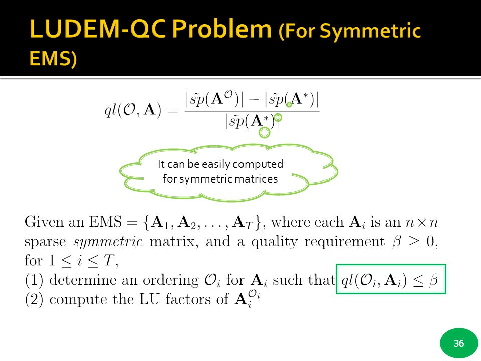 36 It can be easily computed for symmetric matrices