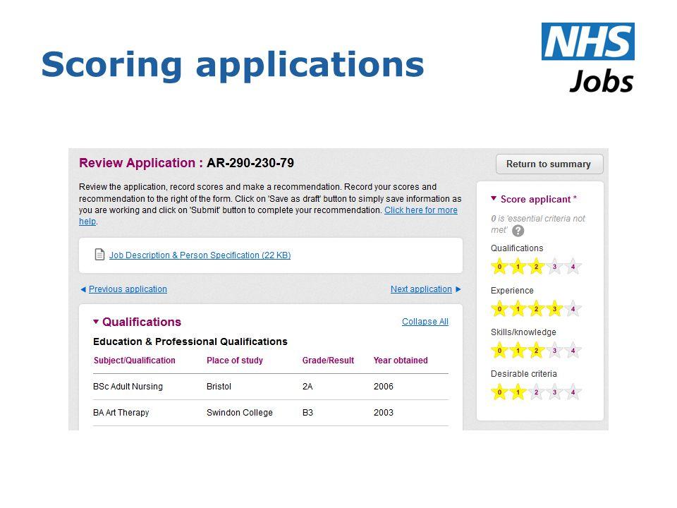 Scoring applications