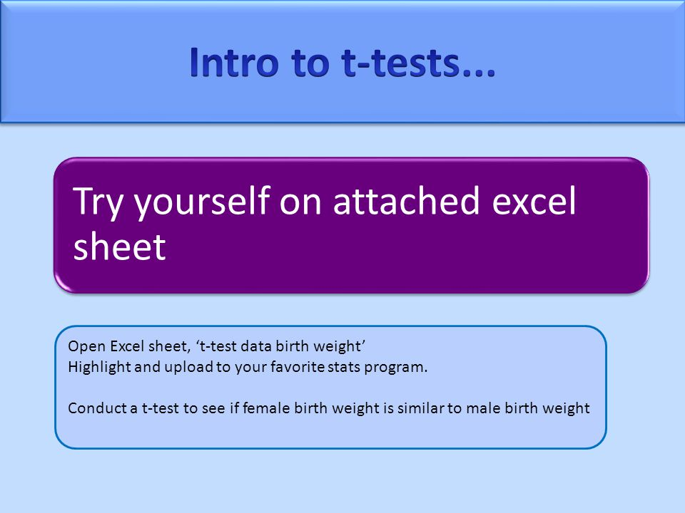 Try yourself on attached excel sheet Open Excel sheet, 't-test data birth weight' Highlight and upload to your favorite stats program.