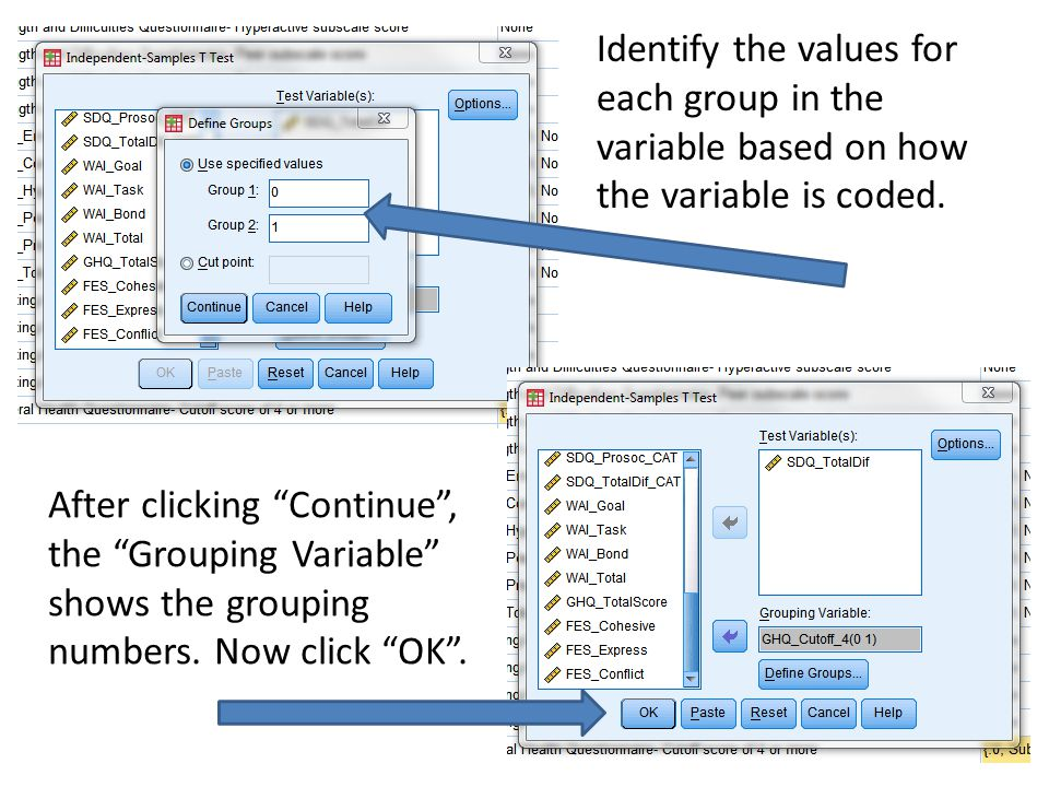 "Identify the values for each group in the variable based on how the variable is coded. After clicking ""Continue"", the ""Grouping Variable"" shows the gr"