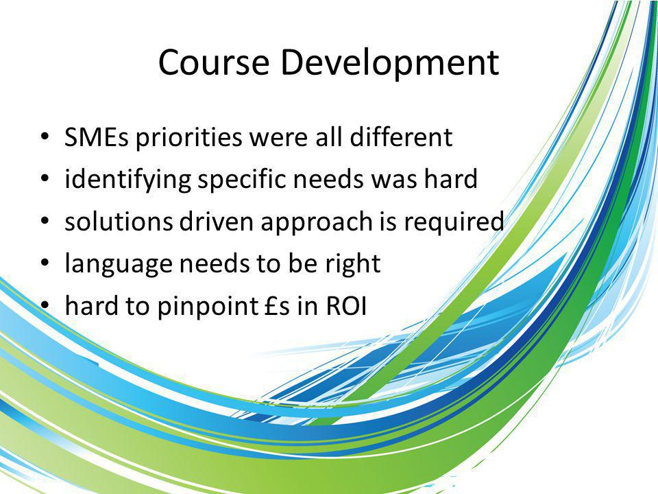 Course Development SMEs priorities were all different identifying specific needs was hard solutions driven approach is required language needs to be right hard to pinpoint £s in ROI