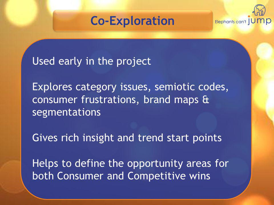 Co-Exploration Used early in the project Explores category issues, semiotic codes, consumer frustrations, brand maps & segmentations Gives rich insigh