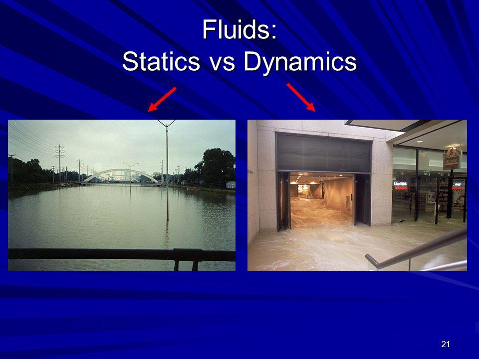 21 Fluids: Statics vs Dynamics