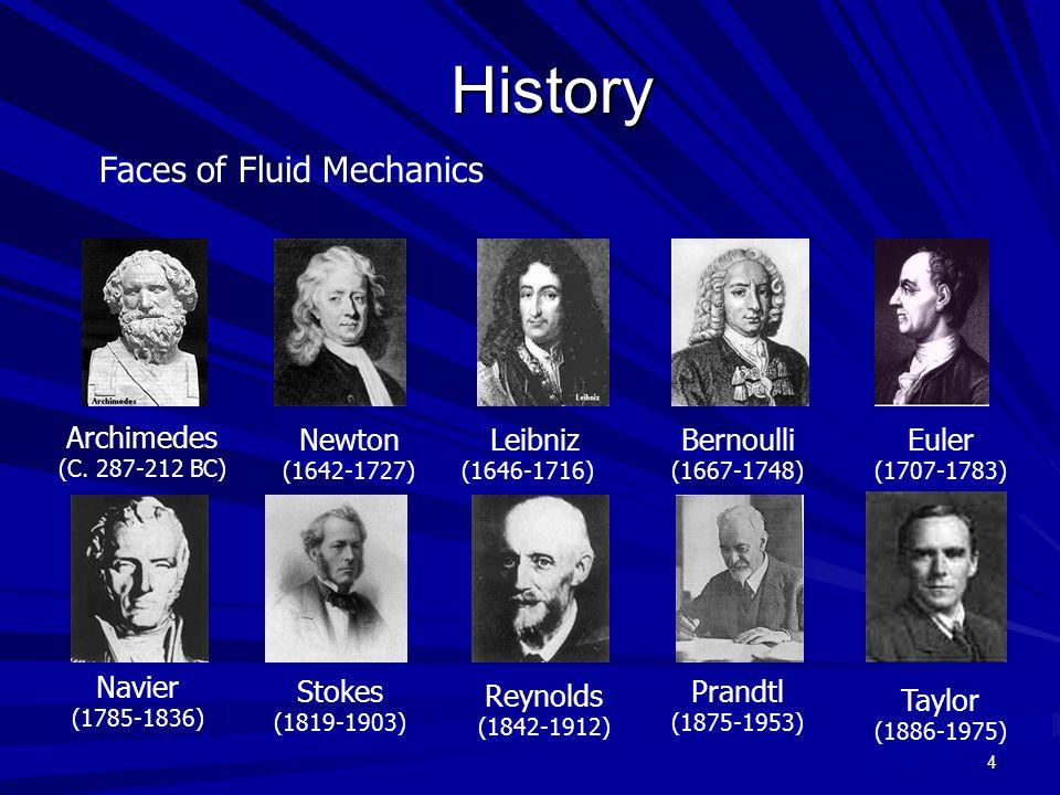 4History Faces of Fluid Mechanics Archimedes (C. 287-212 BC) Newton (1642-1727) Leibniz (1646-1716) Euler (1707-1783) Navier (1785-1836) Stokes (1819-