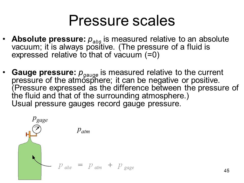 45 Pressure scales Absolute pressure: p abs is measured relative to an absolute vacuum; it is always positive. (The pressure of a fluid is expressed r
