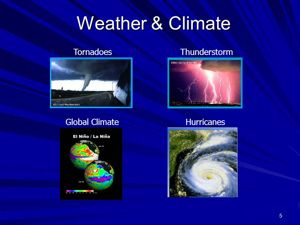 5 Weather & Climate Tornadoes HurricanesGlobal Climate Thunderstorm