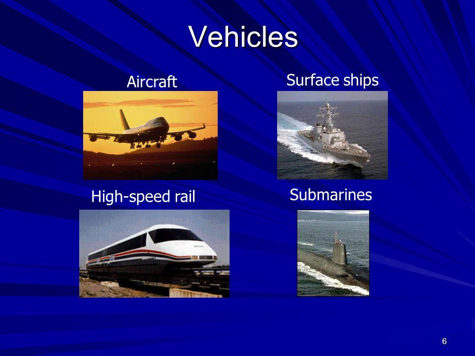 6 Vehicles Aircraft Submarines High-speed rail Surface ships
