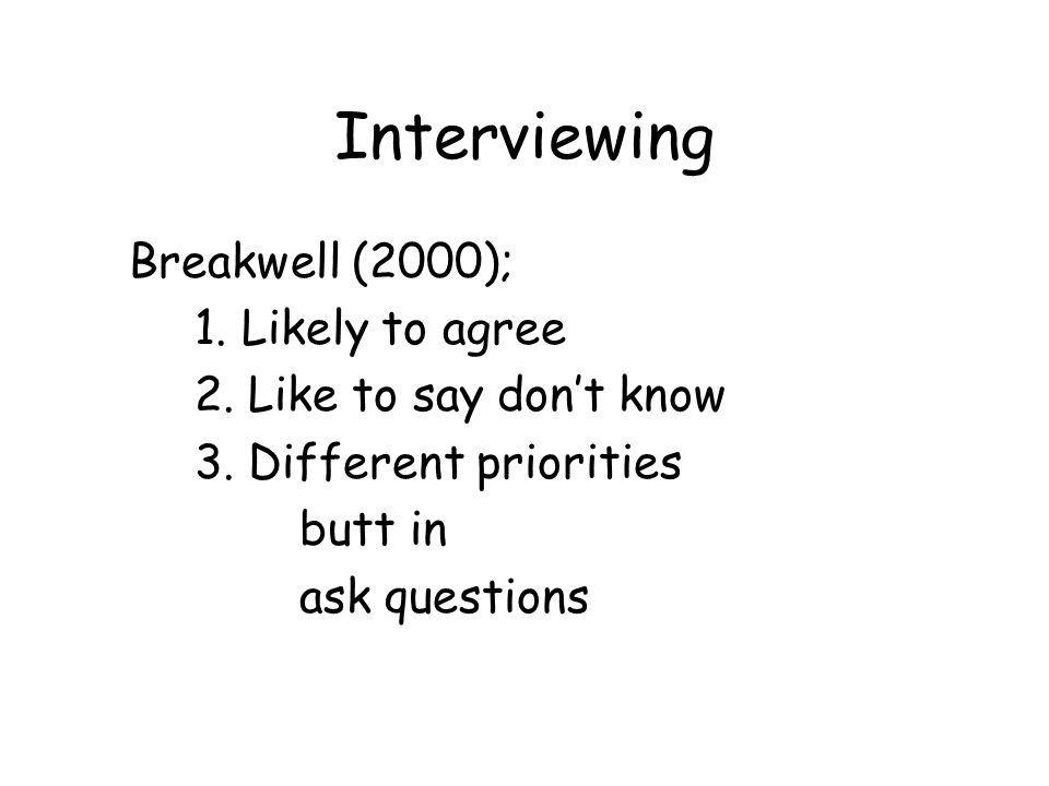 Interviewing Breakwell (2000); 1. Likely to agree 2.