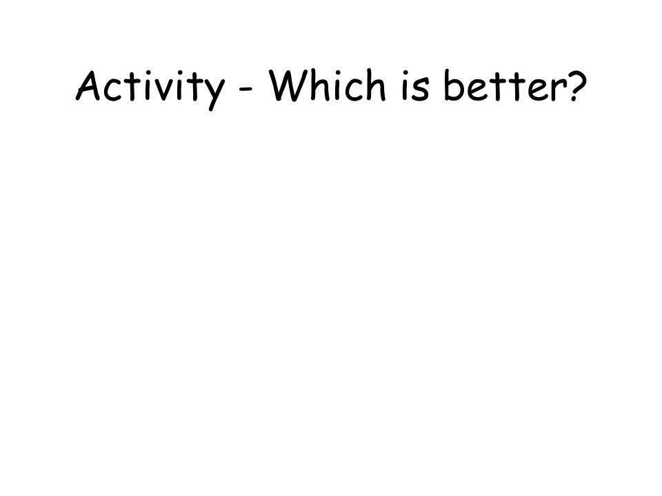 Activity - Which is better
