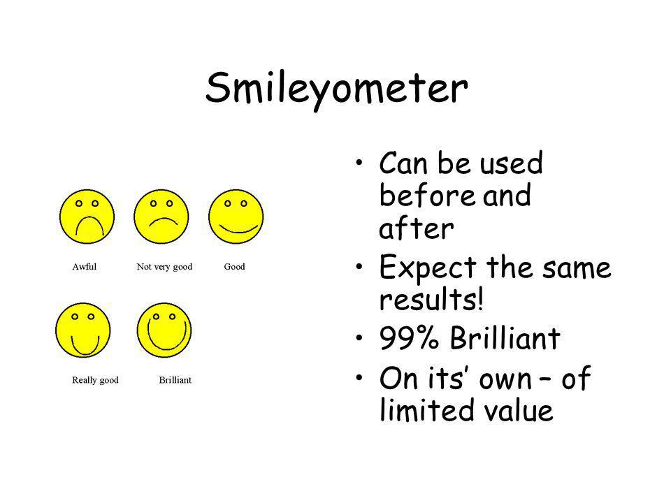 Smileyometer Can be used before and after Expect the same results.