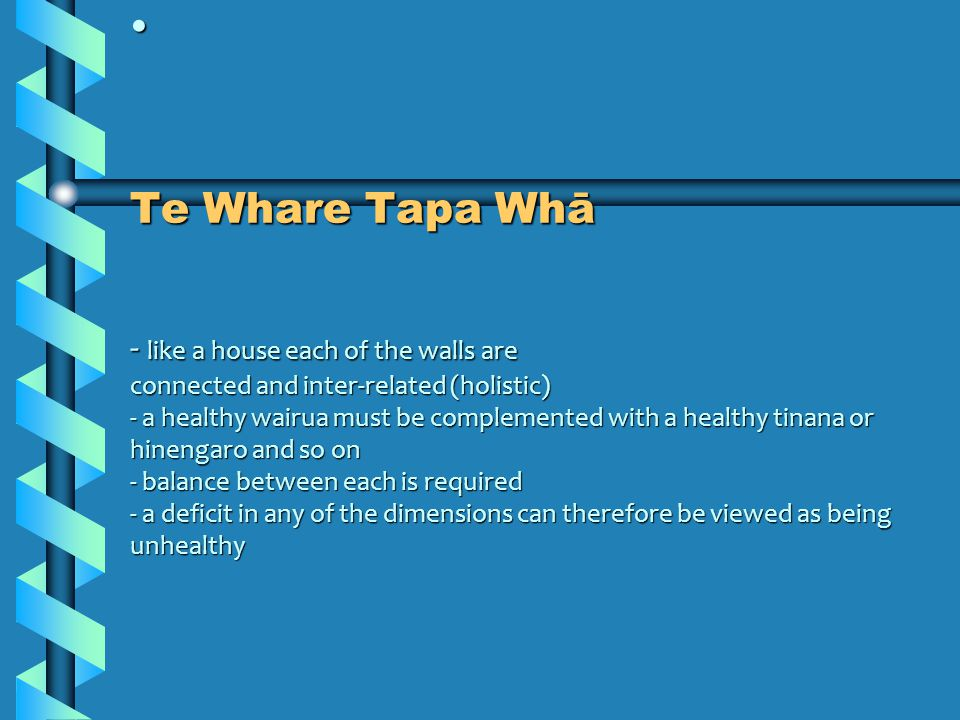 Te Whare Tapa Whā - like a house each of the walls are connected and inter-related (holistic) - a healthy wairua must be complemented with a healthy tinana or hinengaro and so on - balance between each is required - a deficit in any of the dimensions can therefore be viewed as being unhealthy Te Whare Tapa Whā - like a house each of the walls are connected and inter-related (holistic) - a healthy wairua must be complemented with a healthy tinana or hinengaro and so on - balance between each is required - a deficit in any of the dimensions can therefore be viewed as being unhealthy