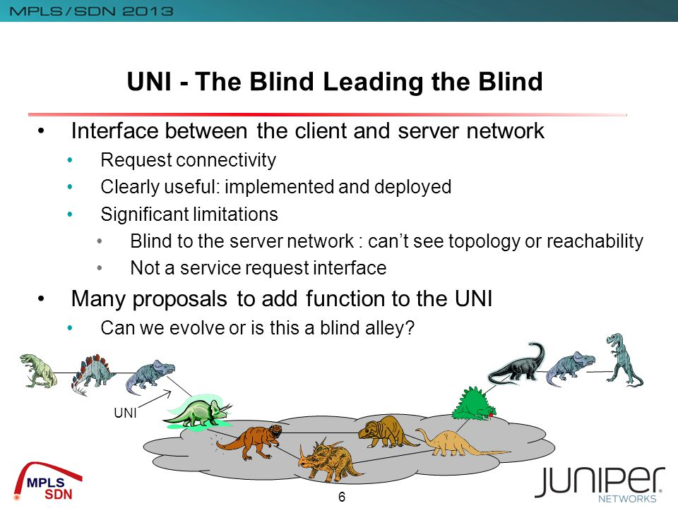 6 UNI - The Blind Leading the Blind Interface between the client and server network Request connectivity Clearly useful: implemented and deployed Significant limitations Blind to the server network : can't see topology or reachability Not a service request interface Many proposals to add function to the UNI Can we evolve or is this a blind alley.