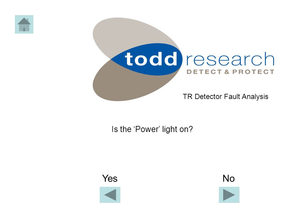 Is the 'Power' light on TR Detector Fault Analysis Yes No