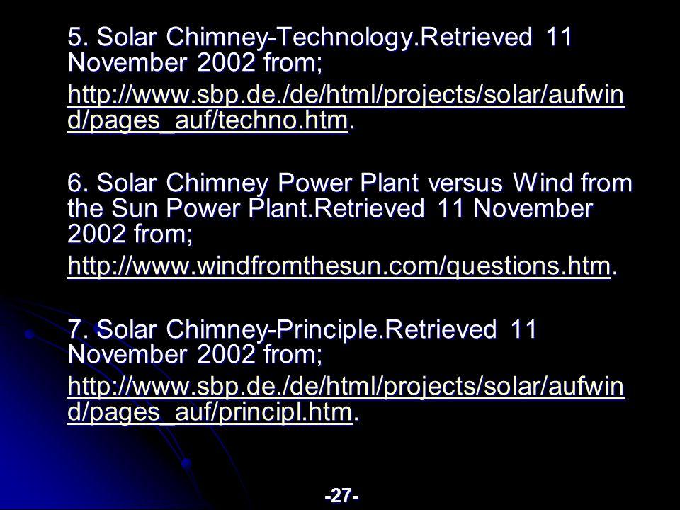 5. Solar Chimney-Technology.Retrieved 11 November 2002 from; http://www.sbp.de./de/html/projects/solar/aufwin d/pages_auf/techno.htmhttp://www.sbp.de.