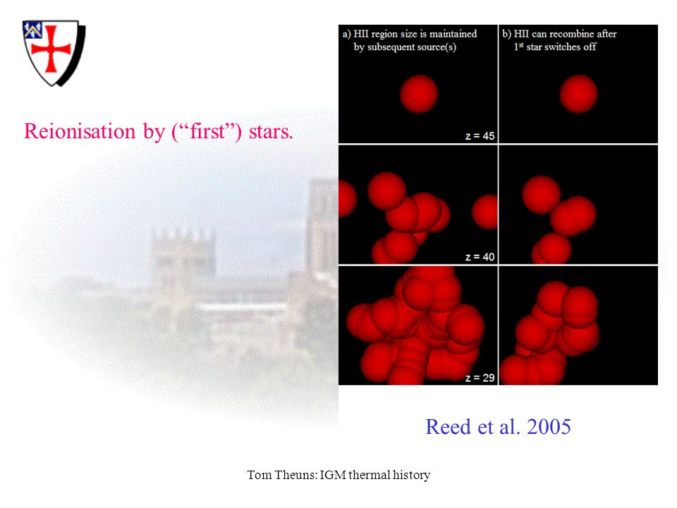 "Tom Theuns: IGM thermal history Reionisation by (""first"") stars. Reed et al. 2005"