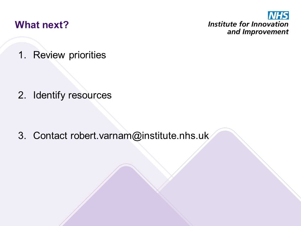 What next 1.Review priorities 2.Identify resources 3.Contact robert.varnam@institute.nhs.uk