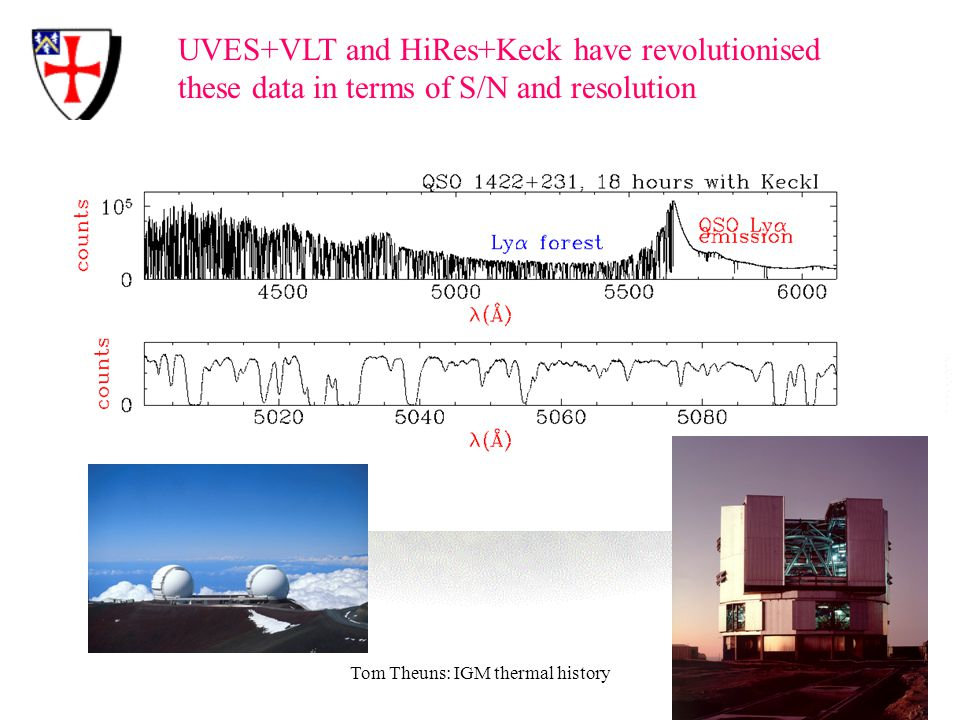 Tom Theuns: IGM thermal history UVES+VLT and HiRes+Keck have revolutionised these data in terms of S/N and resolution