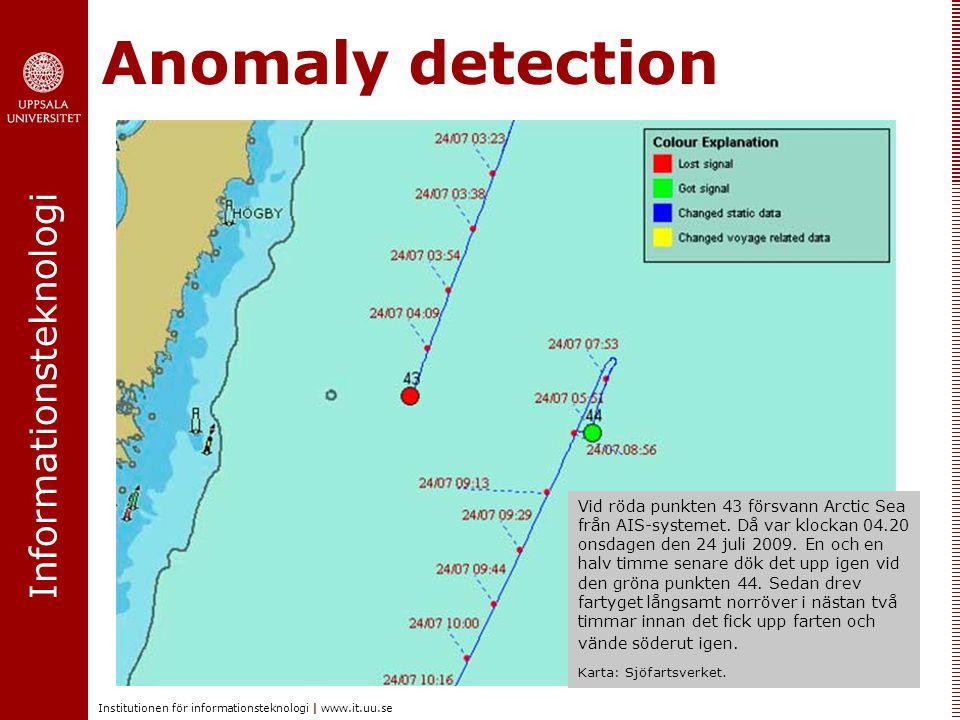 Informationsteknologi Institutionen för informationsteknologi | www.it.uu.se Anomaly detection Vid röda punkten 43 försvann Arctic Sea från AIS-systemet.
