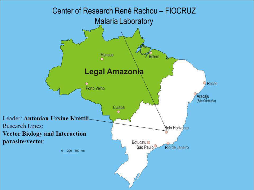 Center of Research René Rachou – FIOCRUZ Malaria Laboratory Leader: Antonian Ursine Krettli Research Lines: Vector Biology and Interaction parasite/vector