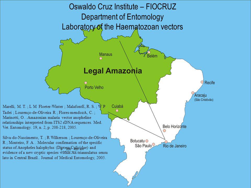 Oswaldo Cruz Institute – FIOCRUZ Department of Entomology Laboratory of the Haematozoan vectors Marelli, M.