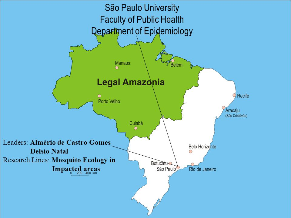 São Paulo University Faculty of Public Health Department of Epidemiology Leaders: Almério de Castro Gomes Delsio Natal Research Lines: Mosquito Ecology in Impacted areas
