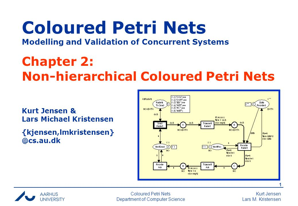 Kurt Jensen Lars M. Kristensen 1 Coloured Petri Nets Department of Computer Science Coloured Petri Nets Modelling and Validation of Concurrent Systems