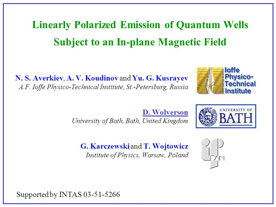 Linearly Polarized Emission of Quantum Wells Subject to an In-plane Magnetic Field N. S. Averkiev, A. V. Koudinov and Yu. G. Kusrayev A.F. Ioffe Physi