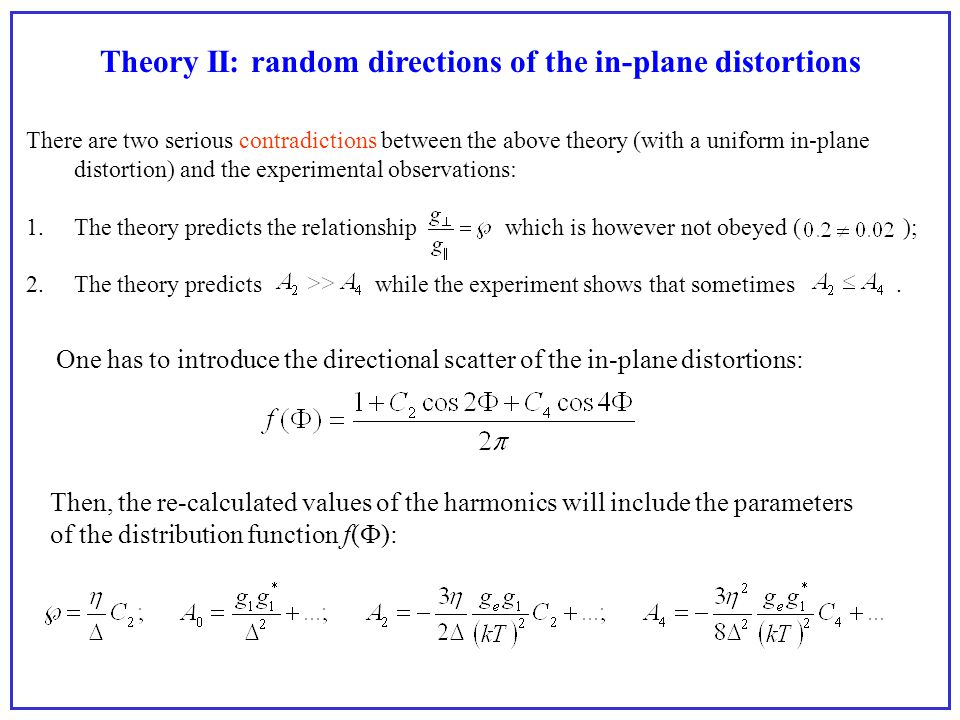 Theory II: random directions of the in-plane distortions There are two serious contradictions between the above theory (with a uniform in-plane distor